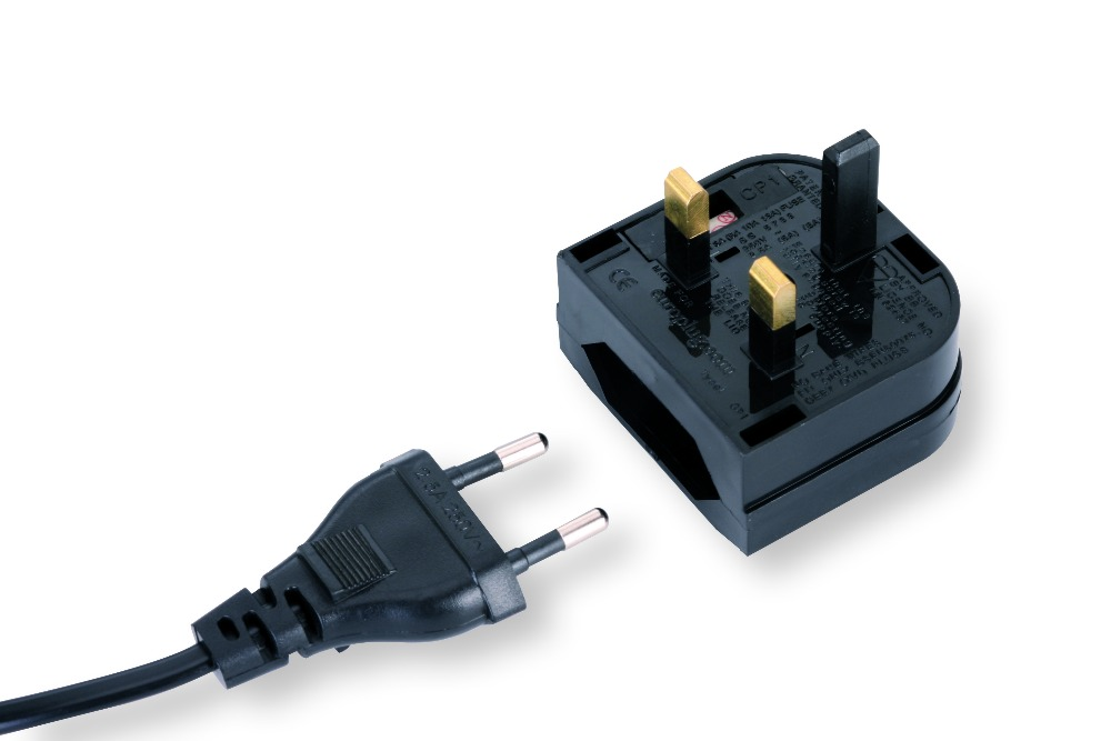 Universal 2pin to <font><b>3pin</b></font> grounded 13A fused power <font><b>plug</b></font> eu to <font><b>uk</b></font> cable converter BS5732 wire adapter connector 2pcs Free Shipping image
