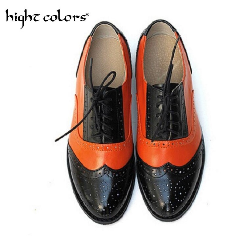 2018 Fashion British Style Brogue Oxfords Genuine Leather Shoes For Women Vintage Carved Bullock Flat Shoes Women Plus Size 10.5 brand new spring men fashion lace up leather retro brogue shoes casual flat breathable carved shoes bullock oxfords shoes wb 55