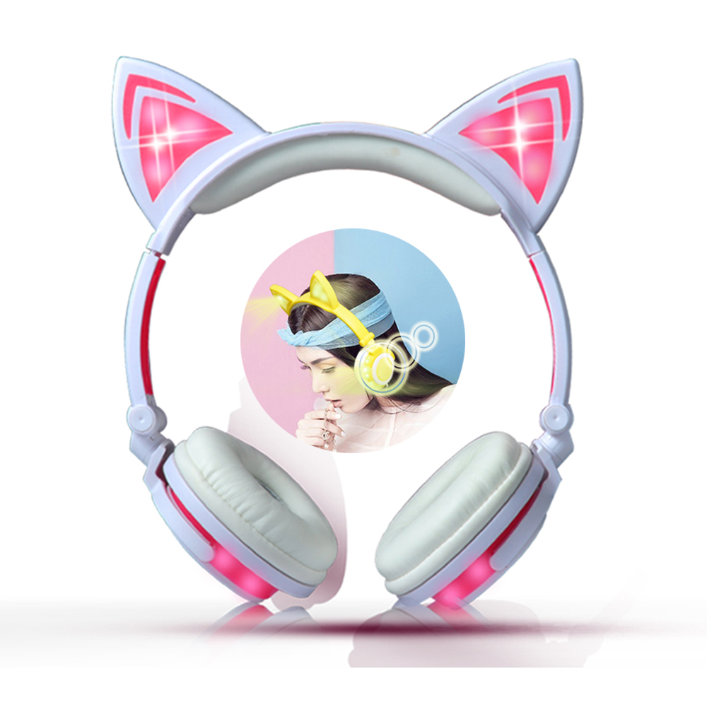 Girl Rechargeable Animal Ear Headphones Colorful LED light Cat Cute Cosplay Earphone for Anime Cosplay Party Costume Girlfriend