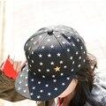 Hot venda Nova Coreano Estrela Pentagrama Bordado Boné de Beisebol Para O Menino Menina Cap Hop do Sexo Masculino e Feminino Casal Modelos Atacado