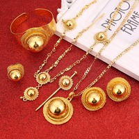 Best Quailty Ethiopian Jewelry Set Gold Color Hair Jewelry 6pcs Sets African Jewelry for Ethiopia Best Women Gift