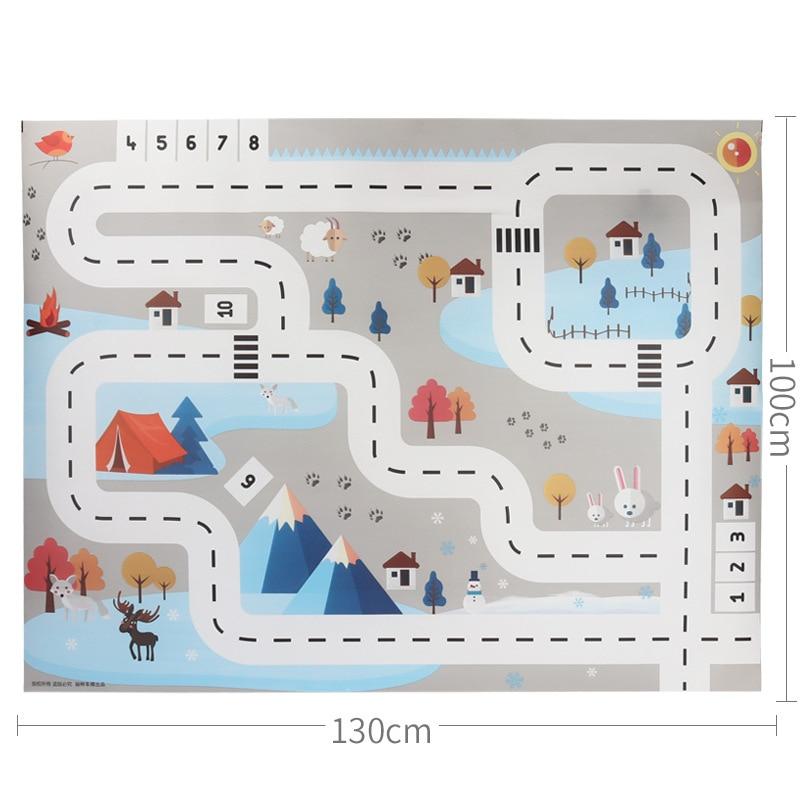 HTB1dH5mXRKw3KVjSZTEq6AuRpXar 83*57cm/130*100CM Large City Traffic Car Park Play Mat Waterproof Non-woven Kids Playmat Pull Back Car Toys for Children's Mat