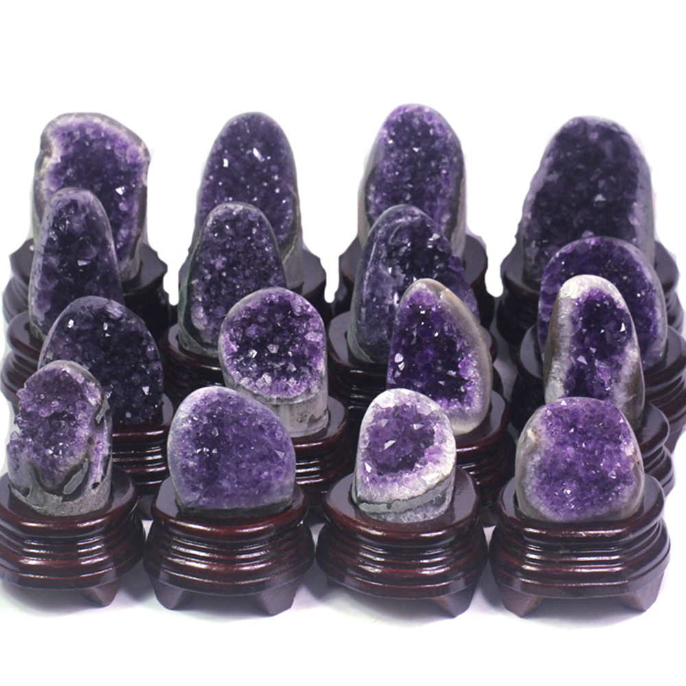 DS Natural Uruguay Amethyst Geode Druzy Cluster Minerals Specimen Healing Quartz Crystal Stone Home Decoration Free Wood Stand