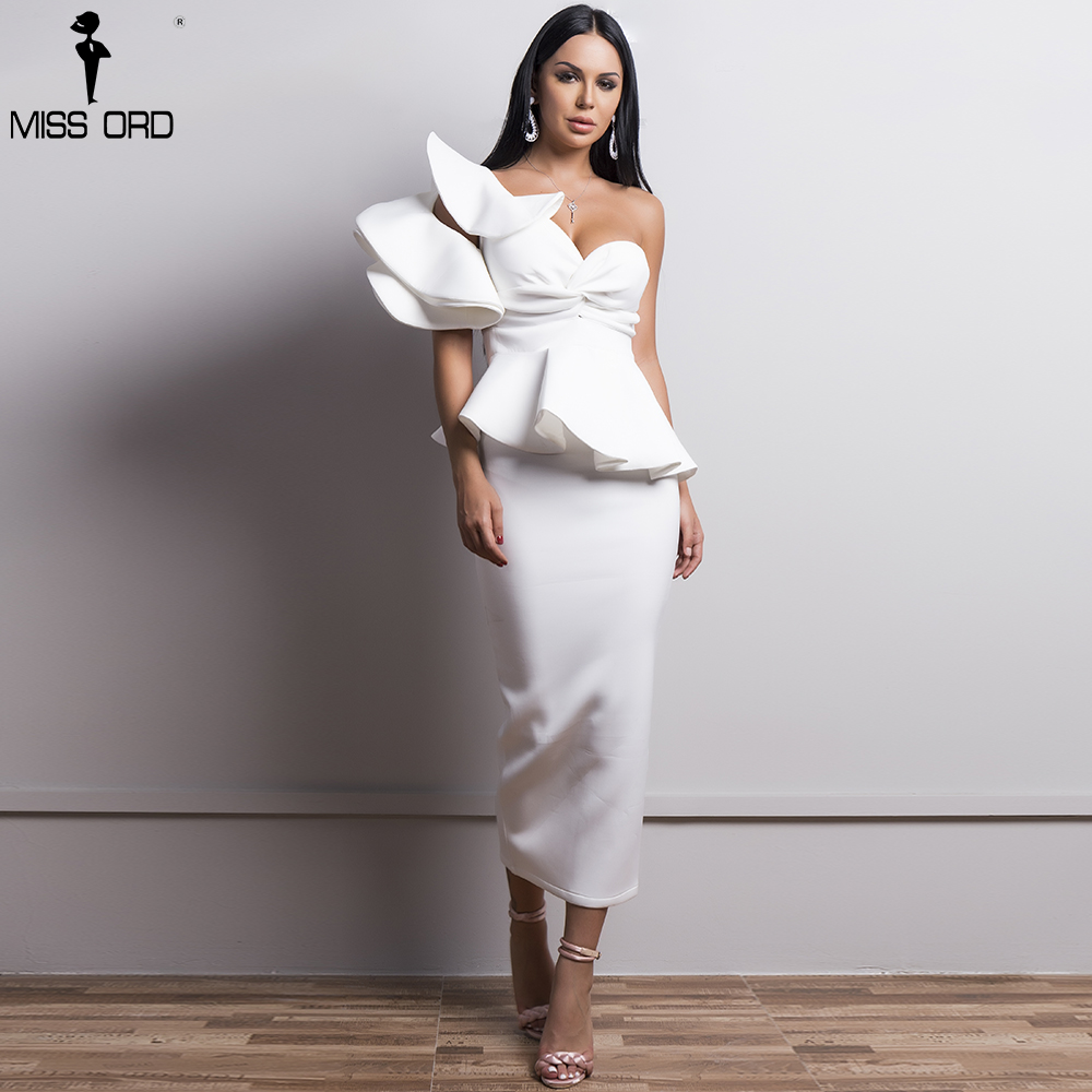 Missord 2019 Sexy Spring And Summer One-Shoulder  Backless Dresses Female Elegant Ruffle   Mermaid Club Dress TB0020-1