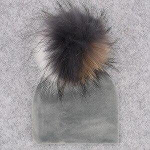 Image 5 - GZHILOVINGL помпон из натурального меха, детская шапка девочки мальчики теплая зимняя вязаная бархатная шапка для малышей Мягкие толстые фланелевые шапки помпоны