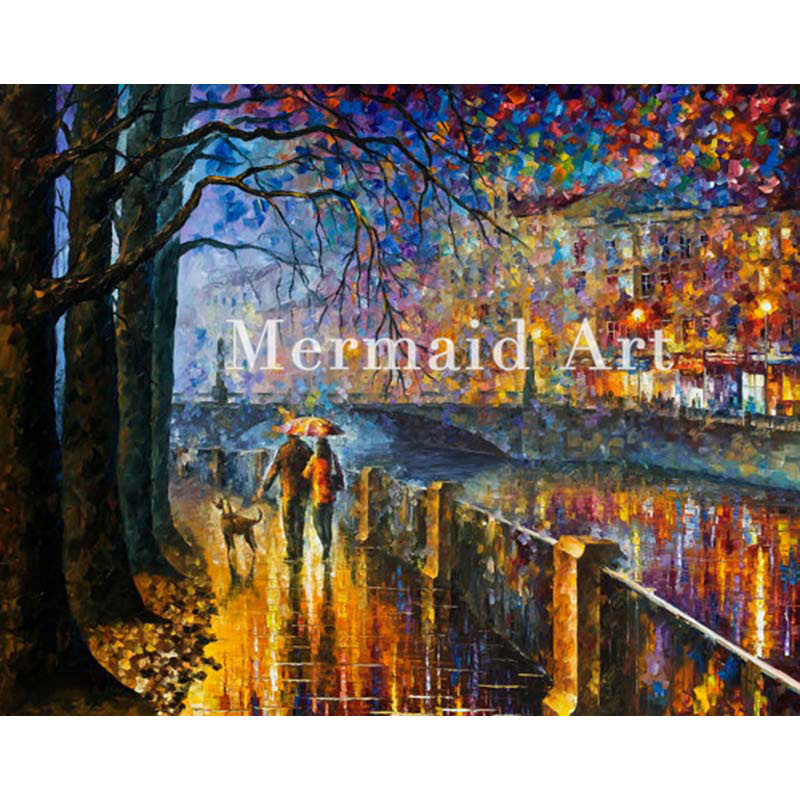 hand painted Palette knife thick Art Alley By The River Modern Artwork of Landscape canvens Oil Painting Wall Decoration Fine