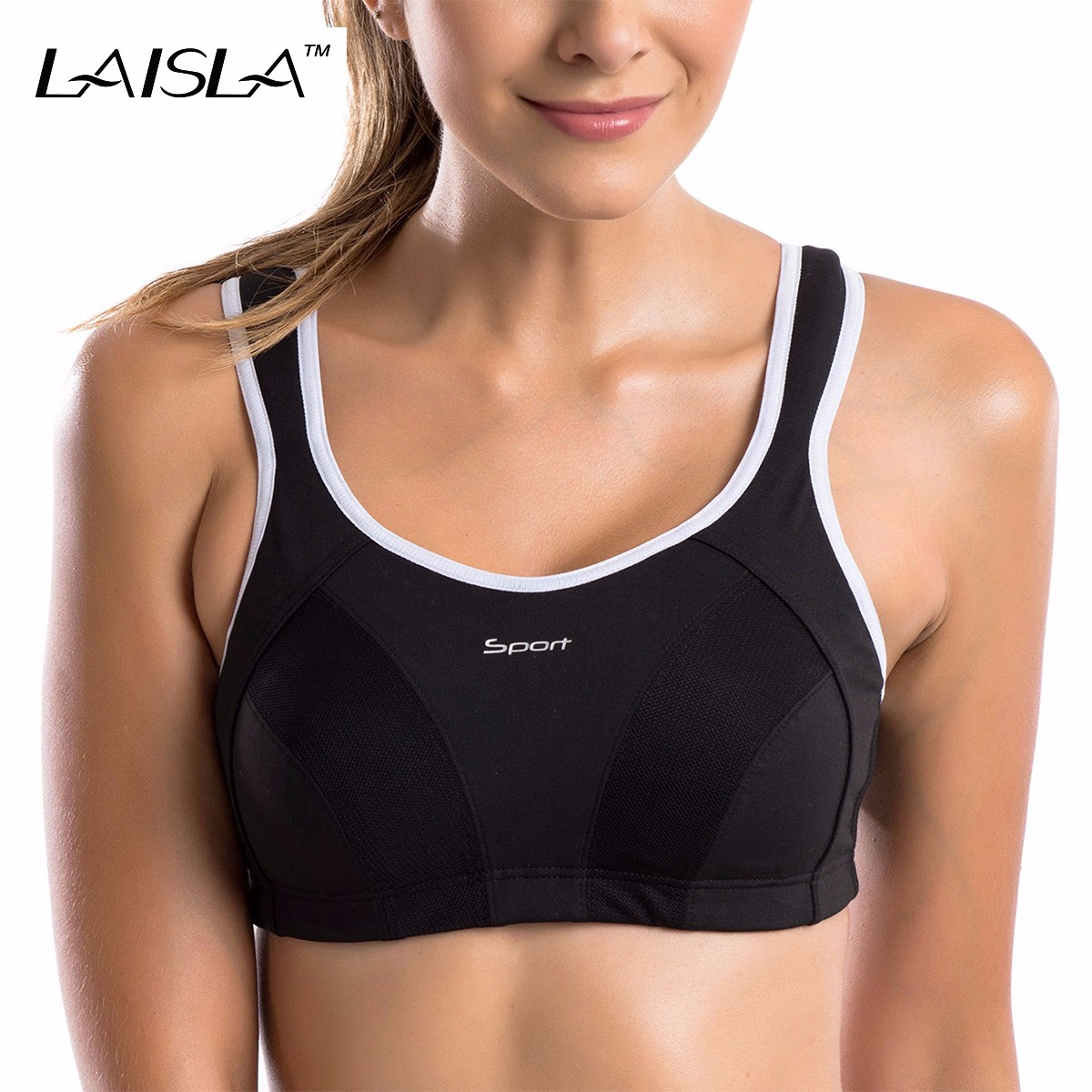 Maximum Control Level 4 Racerback Wireless Active Bra Black White Blue