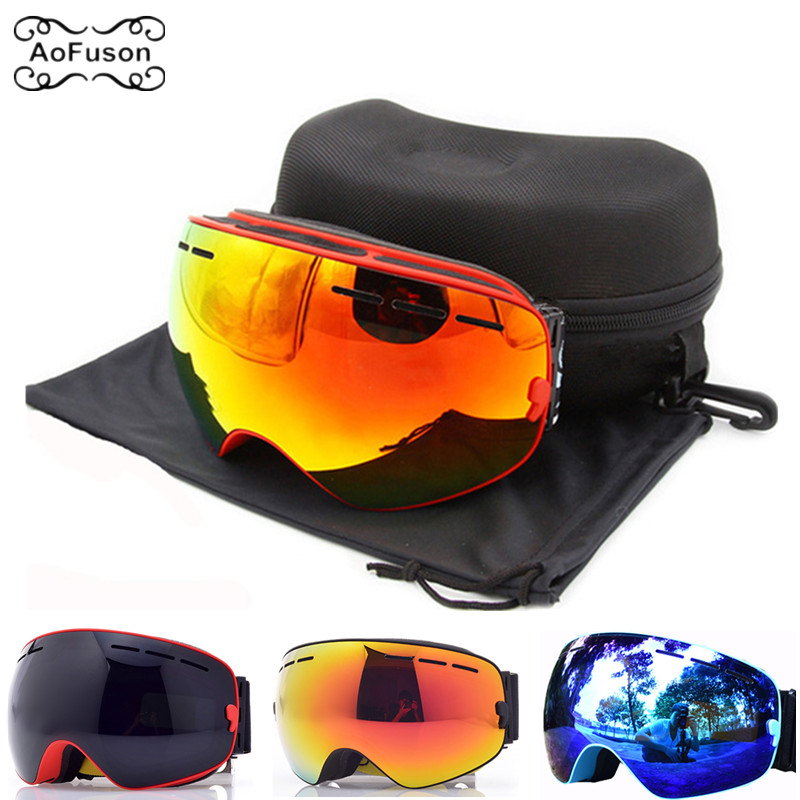Brand Snowboard Goggles,Double Layers Anti-fog Lens Ski Eyewear Wide Angle Glasses Mask Snow Snowmobile Glasses&Original Case