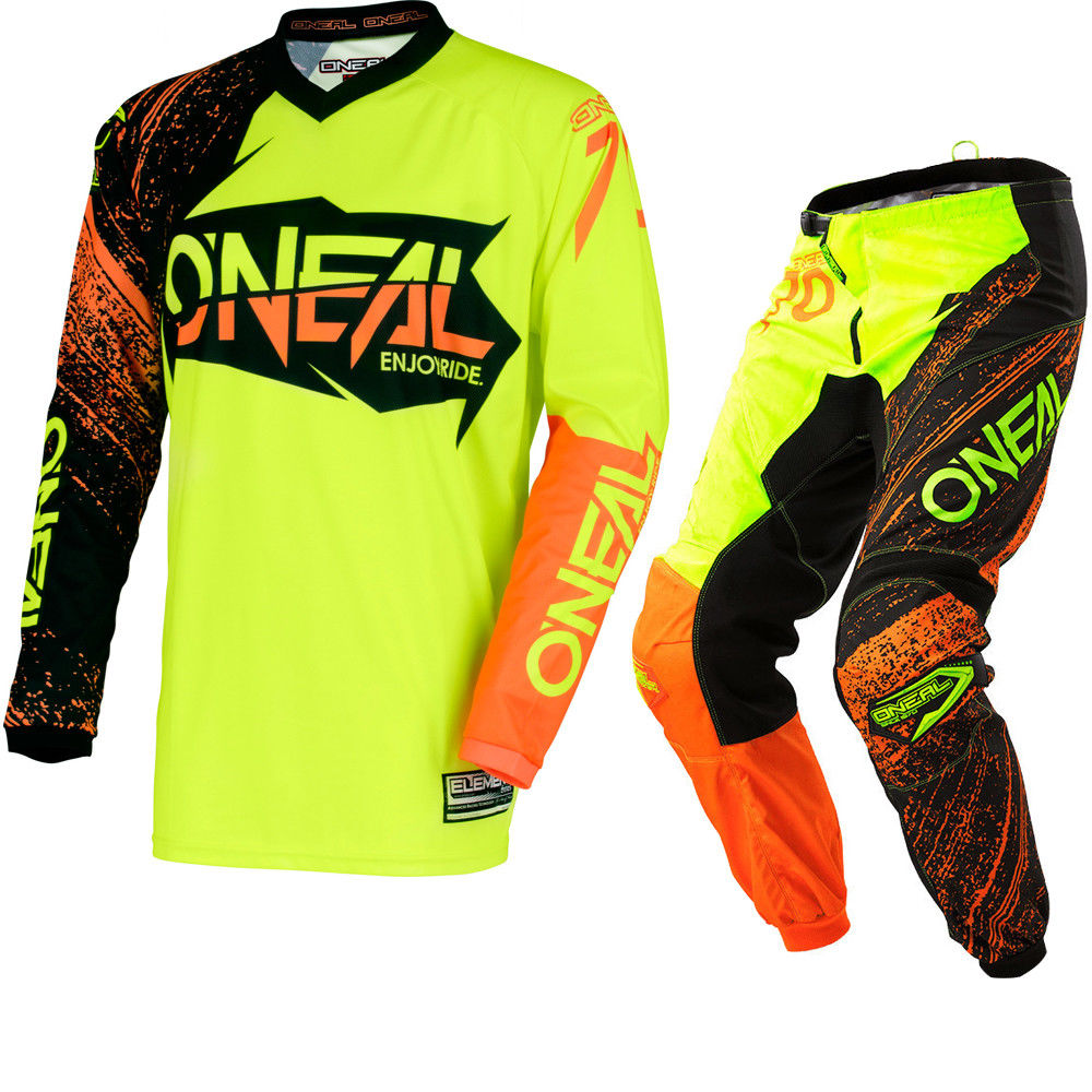 2018 New Fit For oneal Motocross Suit Motobiker Racing Riding Jersey + Pants Motorcycle MX ATV Dirt Bike sets Clothes yellow