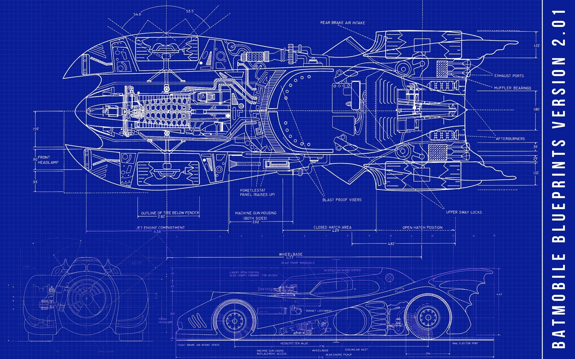 Bat Mobile Super Car Blueprints Sci Fi Science Fiction Retro Vintage Kraft  Poster Canvas Painting