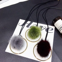 Large Golden Circle Plush Fur Pompom Ball Pendant Necklace For Women Girls Winter Sweater Chain Choker Jewelry Accessories Gift