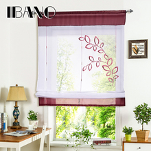 2017 Pastoral Embroidered Roman Short Curtain Sheer Window Kitchen For Living 1 PCS/Lot With Plastic Tubes