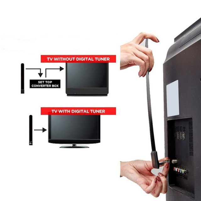 2018EU Standard Digital Aerial Clear TV Key HDTV Free TV Stick Indoor TV Aerial 1080p HD Ditch Cable Signal Enhancement For Home 2