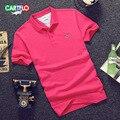 Cartelo бренд 2017 новый мужской моды чистый цвет красный т рубашка отворотом бизнес хлопка с коротким рукавом топ tee Мужские Тонкий бесплатный доставка