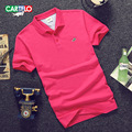cartelo brand 2017 new men's fashion pure color red t shirt lapel business cotton short-sleeved top tee Mens Slim free shipping