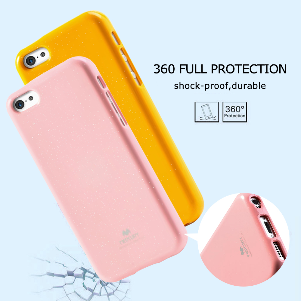 For Iphone Xs Original Mercury Goospery Color Pearl Jelly Flexible Case All Type Special  Yellow Fundas Coque 5c Glittery Powder Tpu Cover Capas