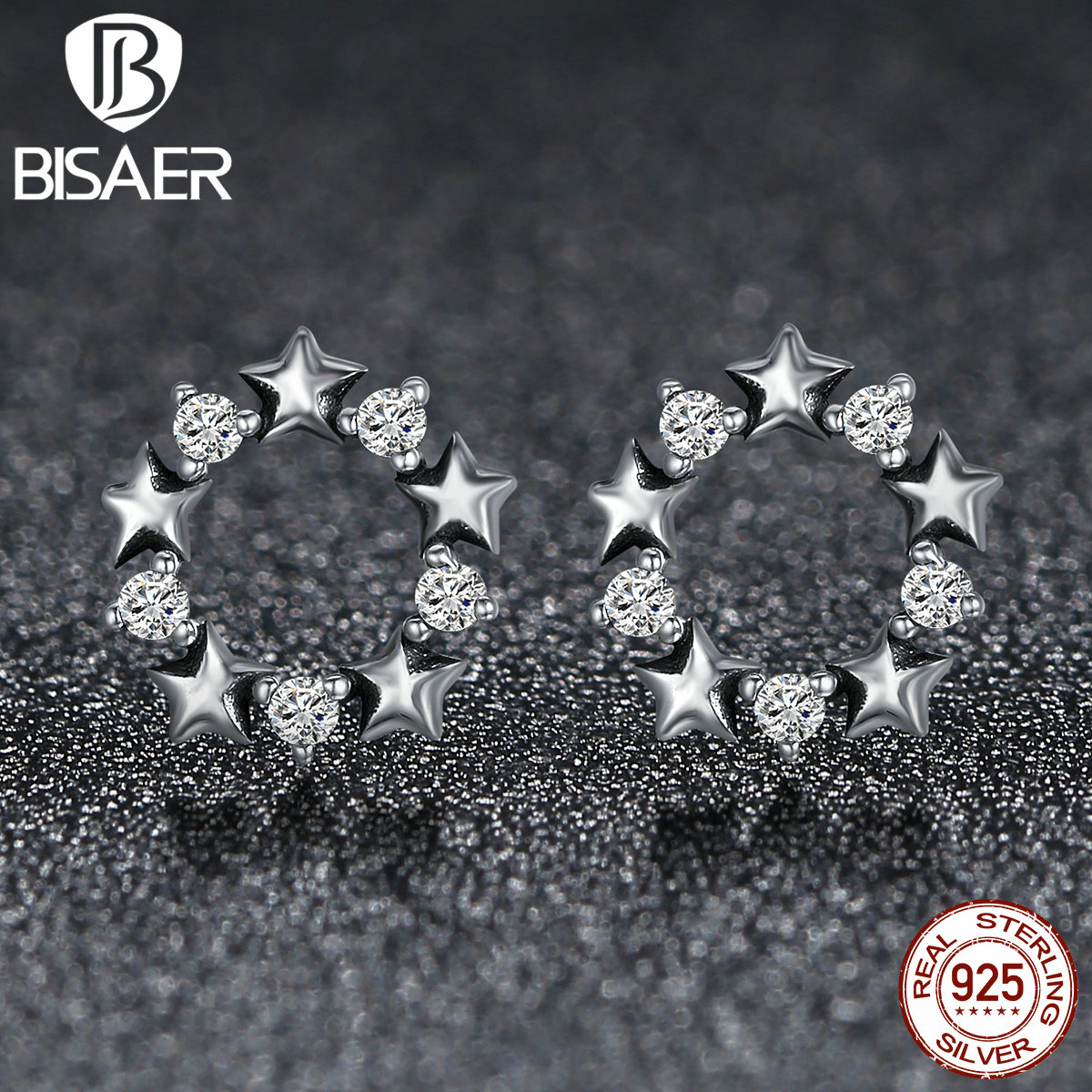 Authentic 925 Sterling Silver <font><b>Bright</b></font> <font><b>Starlight</b></font>, <font><b>STARS</b></font> Link Circle Stud Earrings for Women Wedding Sterling Silver Jewelry ECE185