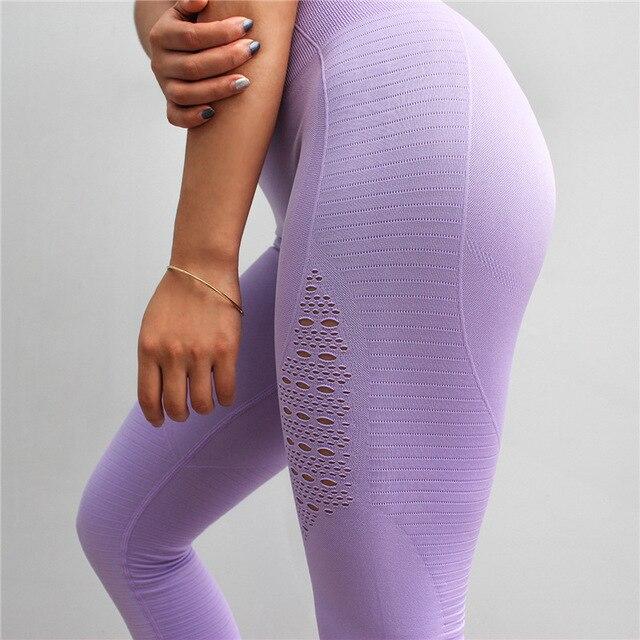 ba4c06af95 Women Fitness Push Up Leggings High Waist Spandex Workout Legging Pants  2018 Fashion Female Seamless Hollow Out Leggings Femme