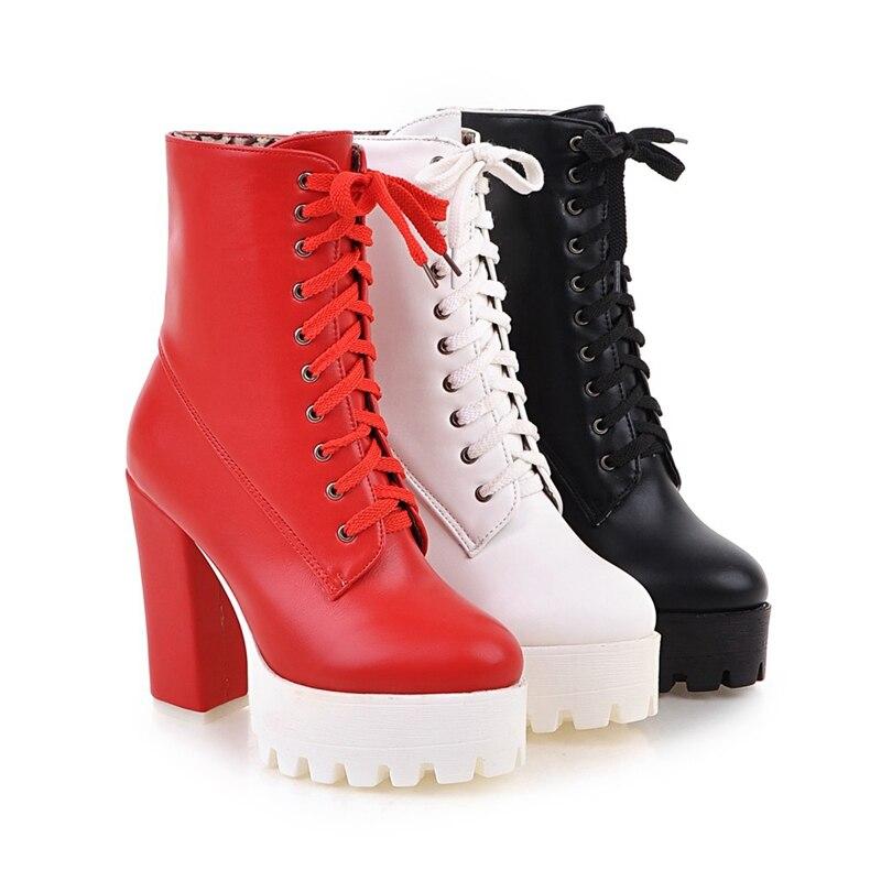 formes Haute À Plates Botas black Bottines Moto Casual Beige Talon Orcha red Mujer Printemps Chaussures Femmes Lacets Super Lisa Automne Bottes A790 FzFwqYxAP