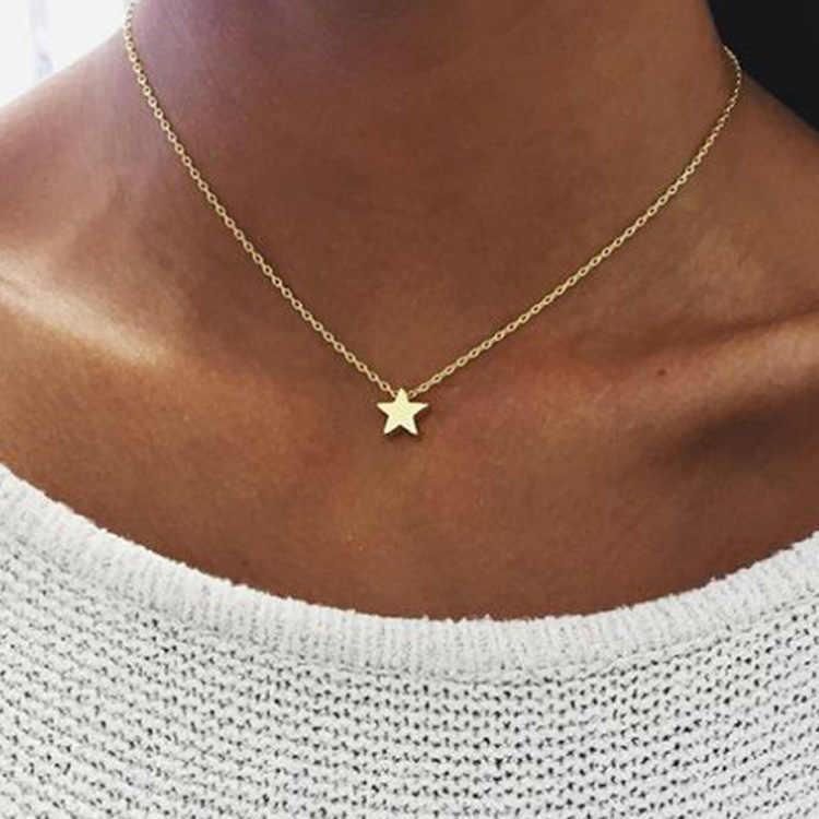 X063 Böhmen Einfache Mond Sterne Herz Choker Halskette für Frauen Kette Halskette Anhänger auf neck Halsketten Schmuck Geschenke
