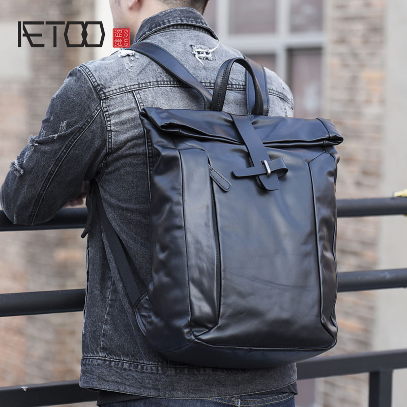AETOO New leather male backpack shoulder bag head soft cowhide Korean youth fashion computer bag leisure travel bag aetoo shoulder bag male leather backpack student bag fashion business computer bag head layer cowhide men and women backpack