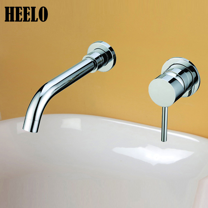 Wall Mounted Kitchen Faucets Brass Polished Silver Bathroom Faucet Single Handle Sink Taps Hot Cold Water 360 Degree Rotation bathroom golden dual handle taps washbasin sink faucets hot and cold water mixer faucet