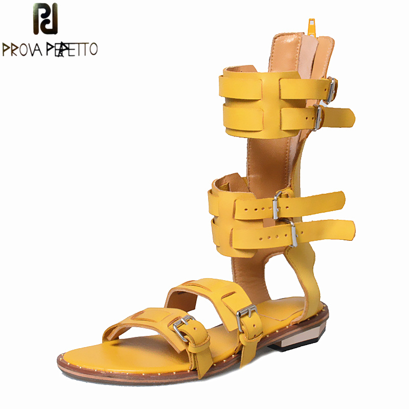 Prova Perfetto Summer Gladiator Woman Sandals Open Toe Buckle Belt Decoration Flat Shoes Solid Genuine Leather High Boot Sandal 2017 summer newest leopard printed flat sandal sexy open toe lace up gladiator sandal cutouts woman fashion shoes