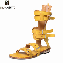 Prova Perfetto Summer Gladiator Woman Sandals Open Toe Buckle Belt Decoration Flat Shoes Solid Genuine Leather High Boot Sandal