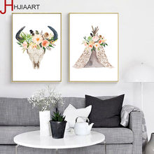 No Frame Watercolor Floral Deer Skull Canvas Poster Minimalist Prints Nordic Painting Living Room Wall Artworks Decorate(China)