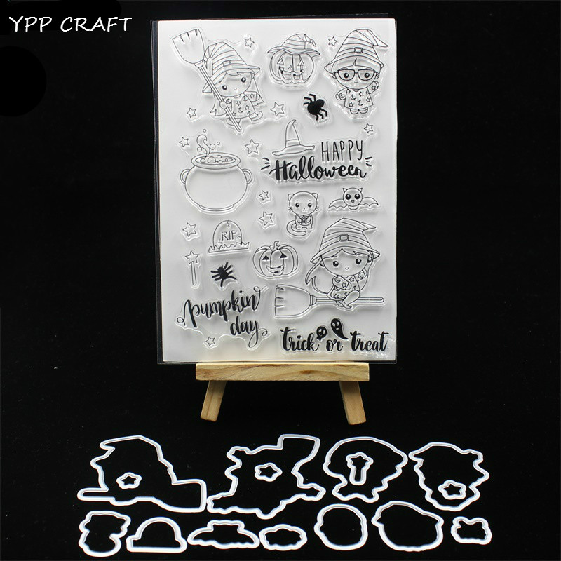 YPP CRAFT Happy <font><b>Halloween</b></font> <font><b>Stamp</b></font> <font><b>And</b></font> Metal Cutting <font><b>Dies</b></font> for DIY Scrapbooking/photo album Decorative Embossing DIY Paper Cards 239 image