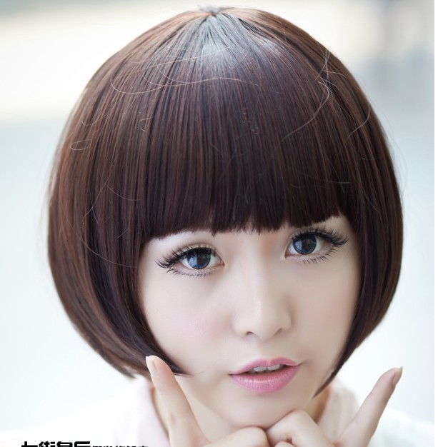 Wig non-mainstream wig girls women's short straight hair qi fluffy bangs , high temperature wire brown black