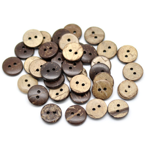 AIMA 1000PCs Brown Coconut Shell 2 Holes Sewing Buttons Scrapbooking 13mm Dia.