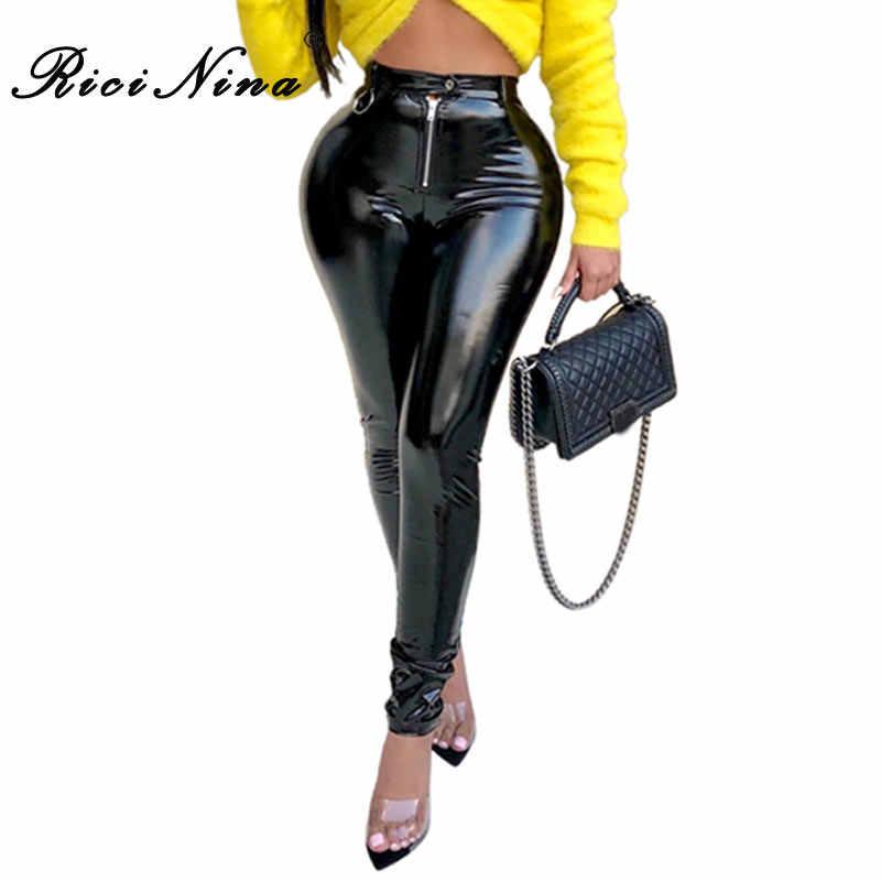 RICININA New PU Calças De Couro Das Mulheres de Cintura Alta Skinny Calças Lápis Mulheres Casual Outono Inverno Quente Calças Slim