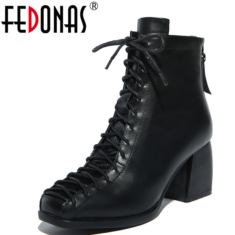FEDONAS Fashion Square Toe Lace-up Genuine Leather Women Ankle Boots Thick Heel Warm Snow Winter Shoes Woman Motorcycles Boots sfzb new square toe lace up genuine leather solid nude women ankle boots thick heel brand women shoes causal motorcycles boot