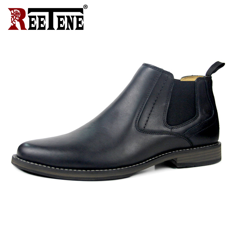 REETENE Spring Autumn Men Boots New Arrival Man Shoes Genuine Leather Boots Casual Men Shoes Slip