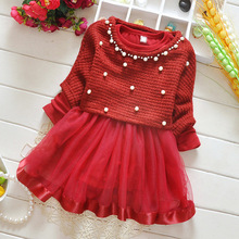 0-1-3 year old baby girl two-piece dress pearl sweater Korean version of spring and autumn long-sleeved dress