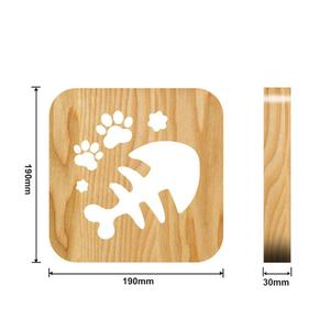 Image 5 - Wooden Dog Paw Cat Animal Night Light French Bulldog Luminaria 3D Lamp USB Powered Desk Lights For Baby Christmas New Year Gift