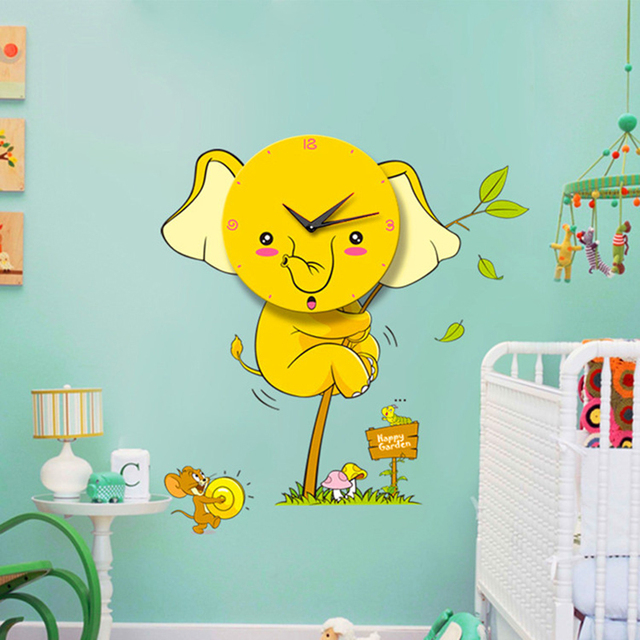Big Cartoon Wall Clocks Cute Yellow Elephant Clock Sticker Children ...