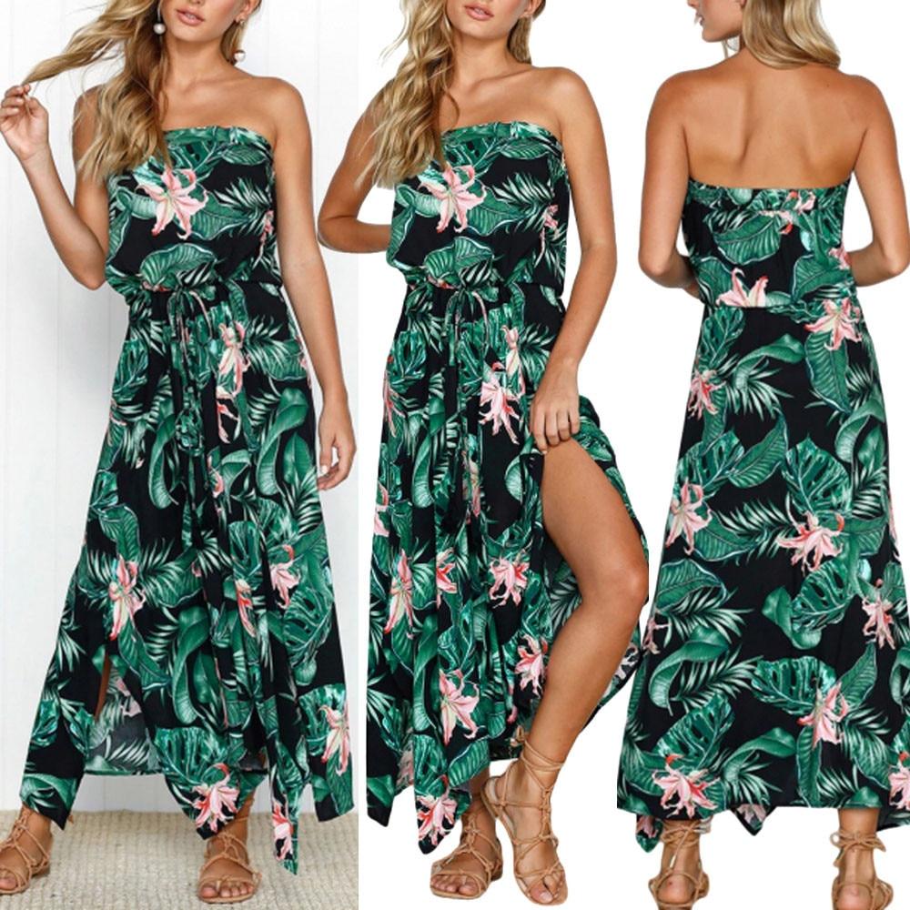 Women dress Summer Sexy Womens Floral Leaf Print Off Shouder Dress Ladies Summer Beach Lace Up Dress 2018