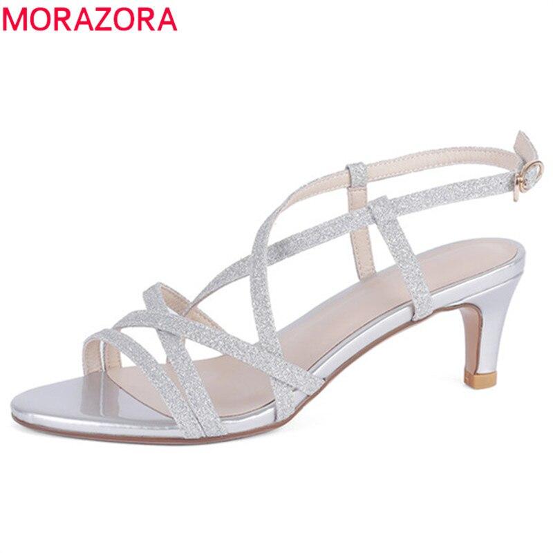 MORAZORA 2019 new arrival women sandals buckle stiletto heels shoes fashion party prom shoes female elegant