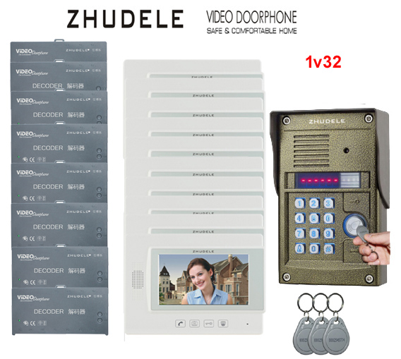 ZHUDELE Home security intercom System for 32 Units Apartments kit 7 Monitor Video Door Phone Bell Password and ID card