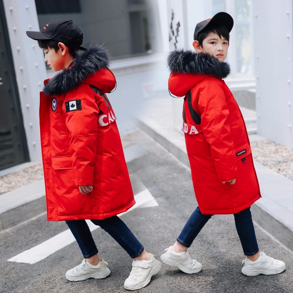 -30 Degrees Boys Clothing Warm Down Jacket For Teenagers 2018 New Winter Thicken Parka garments Hooded Children Outerwear Coats 2018 girls clothing warm down jacket for girl clothes 2018 winter thicken parka real fur hooded children outerwear snow coats