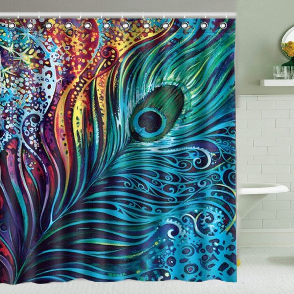 Peacock feather fabric shower curtain quot teal peacock feather quot green - 180 150cm Peacock Feather Shower Curtain Waterproof Bath Curtain Polyester China Mainland