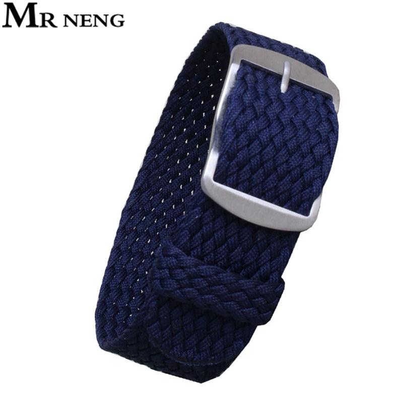 MR NENG Wholesale Fashion Men And Women 14 16 18 20mm 22mm NATO Nylon WATCHBAND Navy Waterproof Nylon For Perlon Watch Strap
