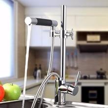 Новый Керамика Одной ручкой на бортике хромированная отделка Современная полировка Кухня вытащить бассейна смесителя кран L-92350