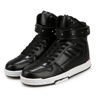 Men Hip Hop Shoes Black Pu Leather High Top Casual Shoes Trainers High Platform Outdoor Flat