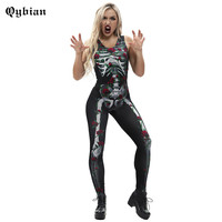 Women Halloween Rose wrapped Skeleton Bone Pattern Jumpsuit Sleeveless Catsuit Bodysuit Scary Costume