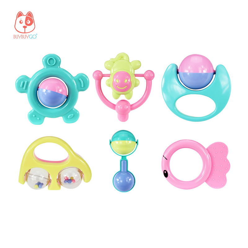 BUYBUYGO Baby Hand Rattle Toys 6 Pieces Early Childhood Education Grasp Rattle 3 Months+ Baby Educational Toys BPA Free
