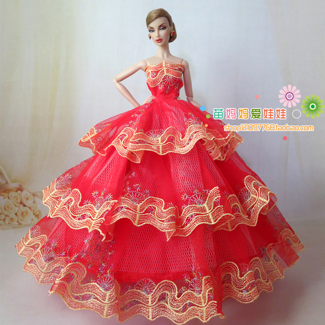 Us 485 9 Offdolls Luxurious Fashion Princess Wedding Dress For Barbie Doll Bride Dress In Dolls Accessories From Toys Hobbies On Aliexpress