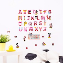 Disney Mickey Mouse Minnie Letters Wall stickers kids room bedroom accessorie School Study  decorDIY baby puzzle wallpaper